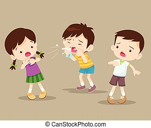 coughing child to friend - Child blow the nose. Cute boy...