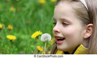 Child blowing on dandelion in park outdoor. - Little girl...