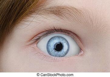 Child blue eye close up.