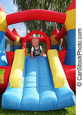 child bouncy castle - child on bouncy castle. inflatable ...