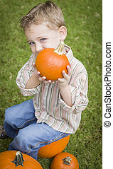 Child Boy at Pumpkin Patch