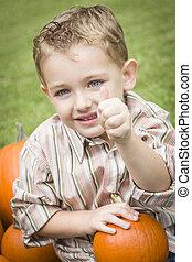 Child Boy at Pumpkin Patch