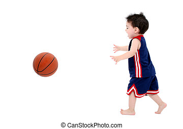 Child Boy Basketball - Adorable Toddler Boy Playing...