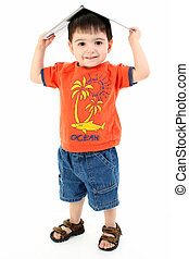 Child Boy Book Silly - Adorable toddler boy in casual wear...