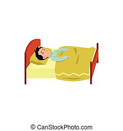 Child boy cartoon character sleeping in bed flat vector illustration isolated.
