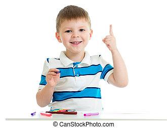 child boy drawing color felt pen
