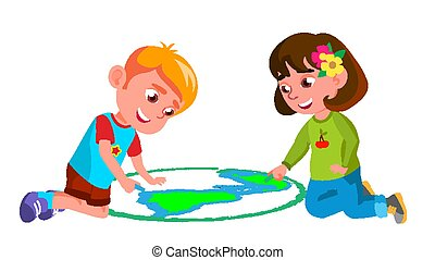 Child Boy, Girl Drawing Earth On Asphalt Vector. Illustration