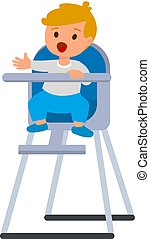 Child boy in baby highchair with plate of porridge. Vector cartoon illustration isolated on a white background.