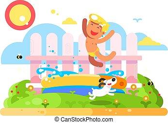 Child boy play in garden pool