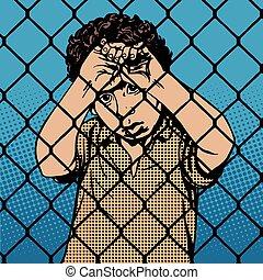 Child boy refugee migrants behind bars the prison boundary pop art retro vintage style. International Migrants Day 18 December