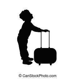 child boy silhouette cute with travel bag illustration