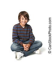 child boy sitting isolated