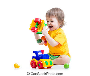 child boy toddler playing toy isolated
