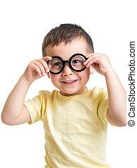 child boy wearing glasses isolated on white