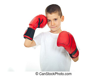 Child boy with boxing gloves