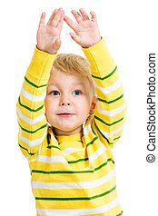 child boy with hands up isolated on white