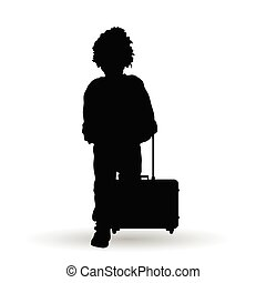 child boy with travel bag silhouette illustration