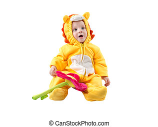 Child boy,dressed in lion carnival suit, isolated on white...