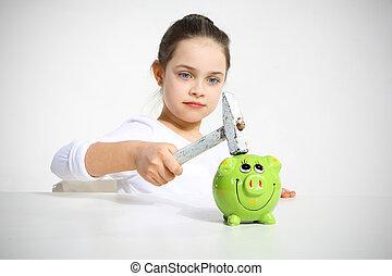 child breaks the piggy bank