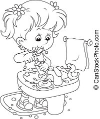 Child brushing teeth - Little girl cleaning teeth in a ...