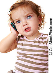 Child calling - Portrait of cute toddler speaking by ...
