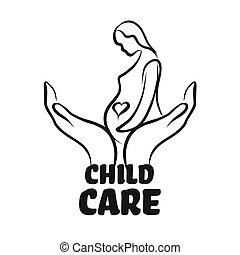 Child care icon with hands. Hand-drawn logo symbol for t-...