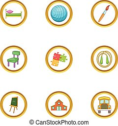 Child care icons set, cartoon style