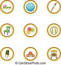 Child care icons set, cartoon style