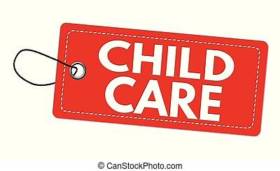 Child care label or price tag on white background, vector ...
