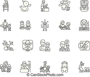 Child care service line icons, signs, vector set, outline illustration concept