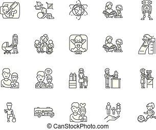 Child care services line icons, signs, vector set, outline illustration concept