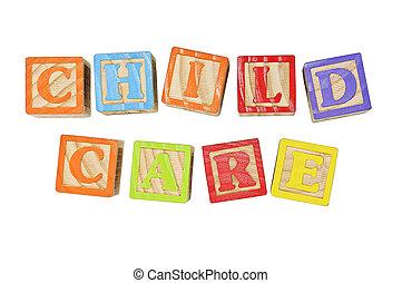 Child Care - Childrens Alphabet Blocks spelling the words...