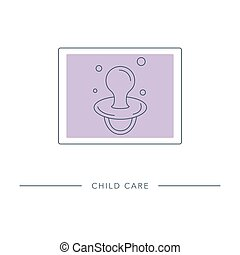 Child care - vector outline icon. - Baby pacifier - vector ...