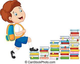 Child cartoon climbing stairs - Vector illustration of Child...
