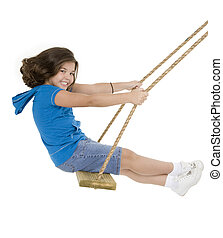 Child - Caucasian child playing on a swing on white...