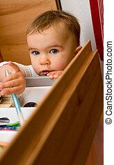 Child caught opening drawer