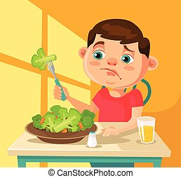 Child character does not want to eat broccoli. Vector flat cartoon illustration