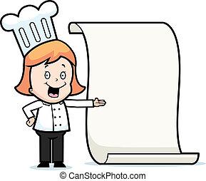 Child Chef Menu - A happy cartoon child chef with a menu.