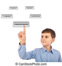 Child choosing his courses with virtual buttons - Schoolboy...