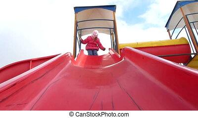 child chute - winters,child having fun