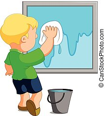 Child cleaning window - illustration of Child cleaning...