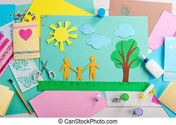 child., colle, ciseaux, coloré, fait, papier, collage, beau