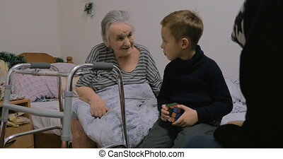 Child coming to see great-grandmother - Boy visiting...