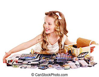 Child cosmetics. - Little girl with child cosmetics.