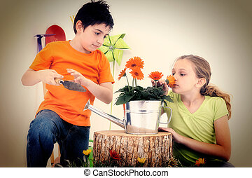Child Couple in Garden Theme