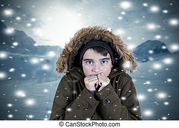 child covered with coat in winter landscape