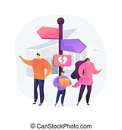 Child custody abstract concept vector illustration. Child cart, marriage dissolution, family conflict, parents divorce, visitation rights, break up, family law, alimony abstract metaphor.