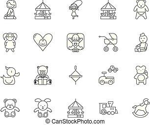 Child daycare line icons, signs, vector set, outline illustration concept
