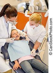 Child dental checkup at stomatology clinic