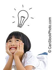Pan Asian thinking on white background, with a light bulb above head